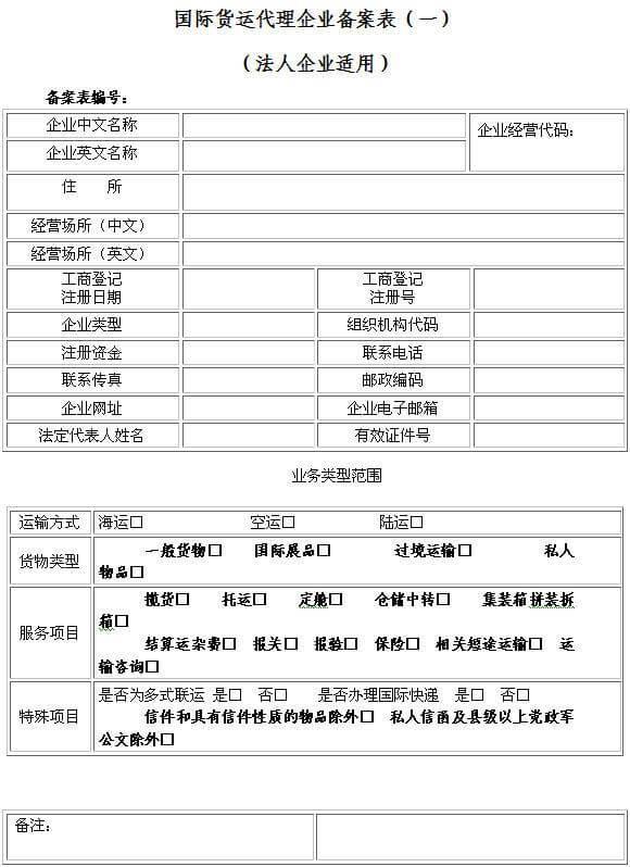 国际货运代理企业备案表